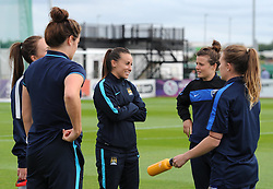 Manchester City Women's Natasha Harding catches up with former team mates at Bristol Academy. Injured Harding will not be facing them on the pitch on this occasion. - Photo mandatory by-line: Paul Knight/JMP - Mobile: 07966 386802 - 18/07/2015 - SPORT - Football - Bristol - Stoke Gifford Stadium - Bristol Academy Women v Manchester City Women - FA Women's Super League