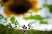 Cycling around Portland, Oregon and Sauvie Island with Burley trailers with sunflowers in the foreground.