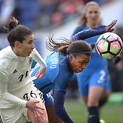 HARRISON, NEW JERSEY- MARCH 4:  Onema Grace Geyoro #20 of France challenged by Hasret Kayikci #26 of Germany during the France Vs Germany SheBelieves Cup International match at Red Bull Arena on March 4, 2017 in Harrison, New Jersey. (Photo by Tim Clayton/Corbis via Getty Images)
