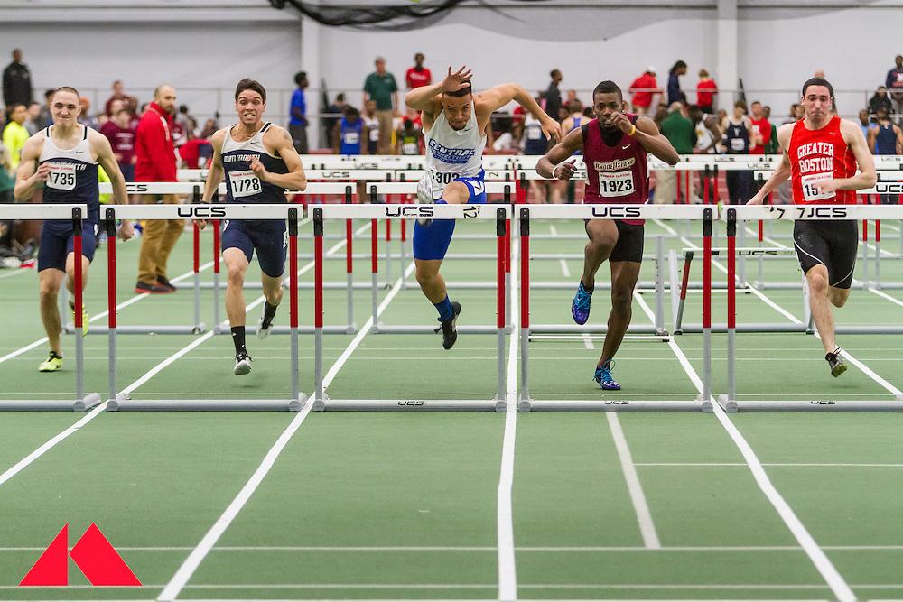 Boston University Terrier Classic indoor track & field meet, mens 60 meter hurdles, Watkins wins