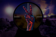 On a battleffield at night, a bloody hand is in the scope of a sniper.Black light