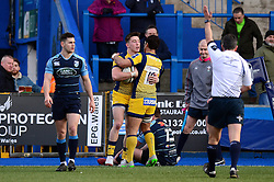 Josh Adams of Worcester Warriors celebrates his try with Jackson Willison - Mandatory by-line: Dougie Allward/JMP - 04/02/2017 - RUGBY - BT Sport Cardiff Arms Park - Cardiff, Wales - Cardiff Blues v Worcester Warriors - Anglo Welsh Cup