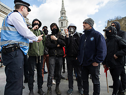 © Licensed to London News Pictures . 01/04/2017 . London , UK . Anti Fascists at Trafalgar Square . The EDL and Britain First both hold demonstrations in London , opposed by anti-fascist groups , including Unite Against Fascism . Photo credit : Joel Goodman/LNP