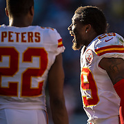 Kansas City Chiefs free safety Eric Berry (29) shouted encouragement to the offense against the San Diego Chargers on Sunday, November 22, 2015 at Qualcomm Stadium in San Diego, Calif. The Chiefs won, 33-3.