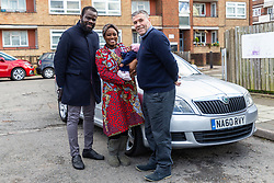 Proud parents Eniola and Lara Cameron-Cole with three week old baby Florance [Spelling correct] who was born near Elephant and Castle in the Uber Cab, pictured, of Sherif Cacaj [Spelling correct], right, when on their way to St Thomas's Hospital in London hospital when Lara went into labour. London, February 11 2019.