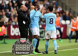 Yaya Toure of Manchester City replaces Ilkay Gundogan of Manchester City - Mandatory by-line: Alex James/JMP - 29/04/2018 - FOOTBALL - London Stadium - London, England - West Ham United v Manchester City - Premier League