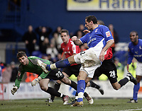 Shefki Kuqi scores.<br /> Ipswich Town v Nottingham Forest. Coca Cola Championship. 12/03/05. Picture by Barry Bland
