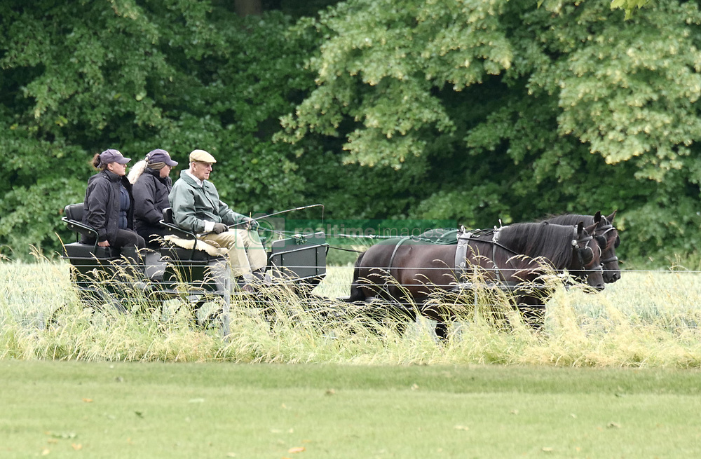 Prince Philip, 97, commands a two-horse, open carriage at Great Windsor Park. 18 Jun 2018 Pictured: Prince Philip. Photo credit: W8Media / MEGA TheMegaAgency.com +1 888 505 6342