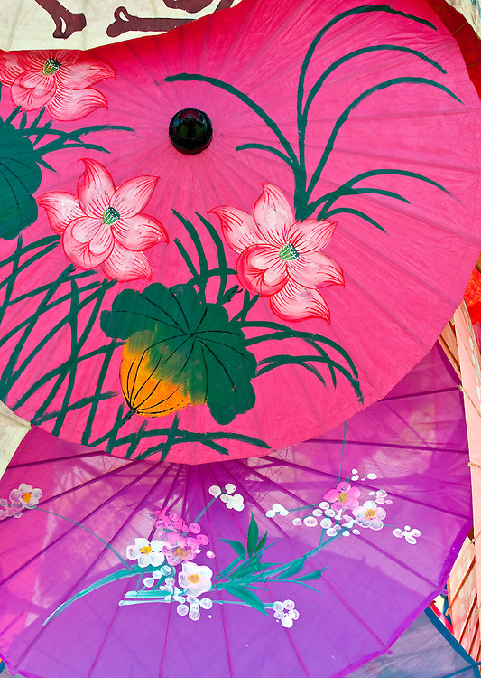 Set of typical and colorful umbrellas with decorative pattern.