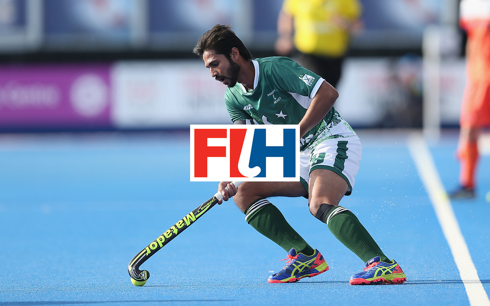 LONDON, ENGLAND - JUNE 15:  Abdul Khan of Pakistan during the Hero Hockey World League Semi Final match between Netherlands and Pakistan at Lee Valley Hockey and Tennis Centre on June 15, 2017 in London, England.  (Photo by Alex Morton/Getty Images)