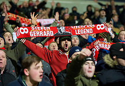 BOLTON, ENGLAND - Wednesday, February 4, 2015: Liverpool supporters celebrate their 2-1 victory over Bolton Wanderers during the FA Cup 4th Round Replay match at the Reebok Stadium. (Pic by David Rawcliffe/Propaganda)