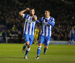 Sam Baldock ( L ) of Brighton and Hove Albion celebrates with Anthony Knockaert after he scores to make it 2-0 - Mandatory byline: Paul Terry/JMP - 29/02/2016 - FOOTBALL - Falmer Stadium - Brighton, England - Brighton v Leeds United - Sky Bet Championship