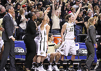 March 04, 2012:  The Purdue bench reacts as time winds down against Nebraska during the Women's Big Ten Championship game at Bankers Life Fieldhouse in Indianapolis, Ind. Purdue won 74-70..Chris Bergin/ Icon SMI