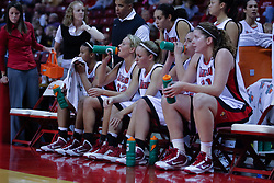 03 November 2009: Shala Jackson, Maggie Krick, Amanda Clifton, Emily Hanleyand Nicolle Lewis take a break at a time out during a game between Panthers of Kentucky Wesleyan and the Redbirds of Illinois State University on Doug Collins Court inside Redbird Arena in Normal Illinois.