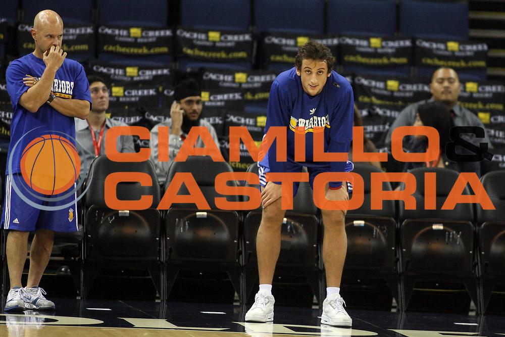DESCRIZIONE : Oakland Oracle Arena<br /> GIOCATORE : Marco Belinelli<br /> SQUADRA : Golden State Warriors<br /> EVENTO : Campionato NBA 2007-2008 <br /> GARA : Prepartita<br /> DATA : 08/12/2007<br /> CATEGORIA : rtitratto<br /> SPORT : Pallacanestro <br /> AUTORE : Agenzia Ciamillo-Castoria/E.Castoria