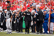 KANSAS CITY, MO - SEPTEMBER 14:   Lane Kiffin of the Oakland Raiders watches a replay during a game against the Kansas City Chiefs at Arrowhead Stadium on September 14, 2008 in Kansas City, Missouri.  The Raiders defeated the Chiefs 23-8.  (Photo by Wesley Hitt/Getty Images) *** Local Caption *** Lane Kiffin