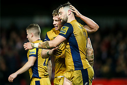 Jon Fisher celebrates with Mitch Eadie of Bristol Rugby but his try is disallowed - Rogan Thomson/JMP - 03/12/2016 - RUGBY UNION - Kingsholm Stadium - Gloucester, England - Gloucester Rugby v Bristol Rugby - Aviva Premiership.