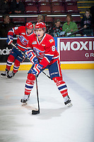 KELOWNA, CANADA - MARCH 7: Jordan Henderson #8 of Spokane Chiefs warms up against the Kelowna Rockets on March 7, 2015 at Prospera Place in Kelowna, British Columbia, Canada.  (Photo by Marissa Baecker/Shoot the Breeze)  *** Local Caption *** Jordan Henderson;