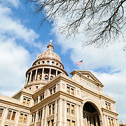 Dome of the Texas State Capitol building in Austin, Texas. At 308 ft tall, it is the tallest of the U.S. state capitols and the only American legislature building taller is the U.S. Capitol in Washington DC. Designed by Elijah E. Myers and constructed in the 1880s, the building is on the National Register of Historic Places and is designated as a National Historic Landmark. The building is built in the style of Italian Renaissance Revival.