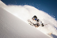 KaPOW, Mike Quigley emerges from the white room, Wasatch Mountains.
