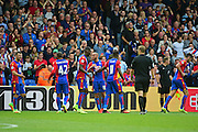 Crystal Palace players celebrate Crystal Palace midfielder Andros Townsend (10) goal to make it 4-0 during the Premier League match between Crystal Palace and Stoke City at Selhurst Park, London, England on 18 September 2016. Photo by Jon Bromley.
