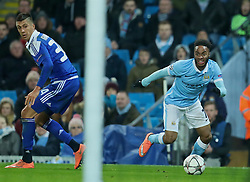 MANCHESTER, ENGLAND - Tuesday, March 15, 2016: Manchester City's Raheem Sterling in action against FC Dynamo Kyiv during the UEFA Champions League Round of 16 2nd Leg match at the City of Manchester Stadium. (Pic by David Rawcliffe/Propaganda)