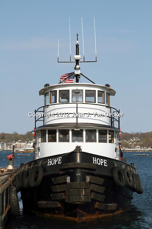 A Tugboat named Hope moored in Newport, Rhode Island, USA