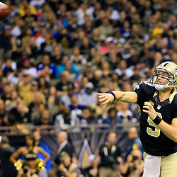 Nov 1, 2015; New Orleans, LA, USA; New Orleans Saints quarterback Drew Brees (9) throws against the New York Giants during the first quarter of a game at the Mercedes-Benz Superdome. Mandatory Credit: Derick E. Hingle-USA TODAY Sports