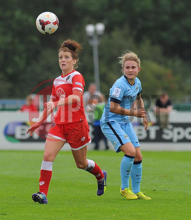 Bristol Academy Womens' Angharad James takes control of ball possession. - Photo mandatory by-line: Nizaam Jones- Mobile: 07583 387221 - 28/09/2014 - SPORT - Women's Football - Bristol - SGS Wise Campus - BAWFC v Man City Ladies - sport