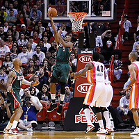 22 January 2012: Milwaukee Bucks point guard Shaun Livingston (9) goes for the reverse layup during the Milwaukee Bucks 91-82 victory over the Miami Heat at the AmericanAirlines Arena, Miami, Florida, USA.