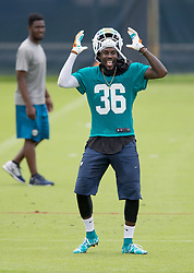 May 31, 2017 - Davie, Florida, U.S. - Miami Dolphins defensive back Tony Lippett (36) does a little dance at Dolphins training facility in Davie, Florida on May 31, 2017. (Credit Image: © Allen Eyestone/The Palm Beach Post via ZUMA Wire)