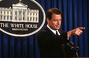 Vice President Al Gore speaks to the media in the Briefing Room of the White House March 26, 1997 to discuss his role in campaign fund raising. Gore, under fire for his aggressive role in the fund raising, acknowledged he made solicitation calls from his White House office but denied any wrongdoing.