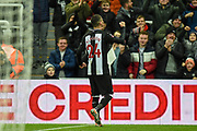 Miguel Almiron of Newcastle United celebrating his team's third goal and his first during the The FA Cup third round replay match between Newcastle United and Rochdale at St. James's Park, Newcastle, England on 14 January 2020.