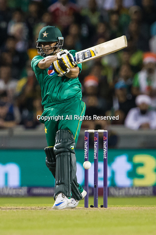 07.09.2016. Old Trafford, Manchester, England. Natwest International T20 Cricket. England Versus Pakistan. Pakistan batsman Khalid Latif hits our early.