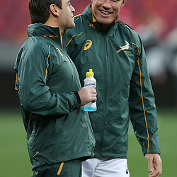 PORT ELIZABETH, SOUTH AFRICA - JUNE 27: Johann van Graan Forwards Coach of South Africa with Schalk Burger of South Africa during the South African National rugby team captains run and official team photograph at Nelson Mandela Bay Stadium on June 27, 2014 in Port Elizabeth, South Africa. (Photo by Steve Haag/Gallo Images)