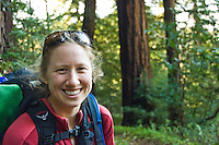 Backpacker portrait, Pine Ridge Trail, Big Sur, California.