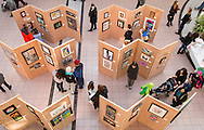 "Town of Wallkill, New York - People look at art on exhibit at the Orange County Arts Council All-County High School Arts Display at the Galleria at Crystal Run on Feb. 28, 2015. The theme of the event was: ""Arts Build Confidence""."