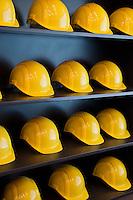 Incineration power plant in Zürich, Switzerland. Rows of yellow hard hats.