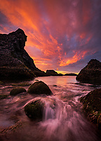 Dramatic sunrise along the rocky west coast of Iceland, Arnarstapi, Iceland