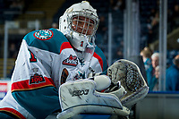 KELOWNA, CANADA - FEBRUARY 23: James Porter #1 of the Kelowna Rockets stands at the bench during warm up against the Seattle Thunderbirds  on February 23, 2018 at Prospera Place in Kelowna, British Columbia, Canada.  (Photo by Marissa Baecker/Shoot the Breeze)  *** Local Caption ***