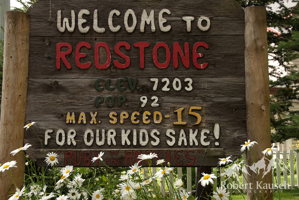 The sign welcomes you to Redstone, a charming little town in the Crystal River Valley.