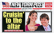 New York Post - June 18, 2005 - Cover Photo of Katie Holmes and Tom Cruise by Tony Barson