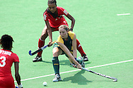 Kathleen Taylor during the women's hockey match of the The Commonwealth Games between South Africa and Trinidad and Tobago held at the Stadium in New Delhi, India on the  October 2010..Photo by:  Ron Gaunt/SPORTZPICS/PHOTOSPORT