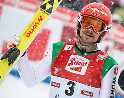 31.01.2016, Casino Arena, Seefeld, AUT, FIS Weltcup Nordische Kombination, Seefeld Triple, Skisprung, Wertungssprung, im Bild Fabian Riessle (GER) // Fabian Riessle of Germany reacts after his Competition Jump of Skijumping of the FIS Nordic Combined World Cup Seefeld Triple at the Casino Arena in Seefeld, Austria on 2016/01/31. EXPA Pictures © 2016, PhotoCredit: EXPA/ Jakob Gruber