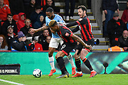 Raheem Sterling (7) of Manchester City battles for possession with Jefferson Lerma (8) of AFC Bournemouth during the Premier League match between Bournemouth and Manchester City at the Vitality Stadium, Bournemouth, England on 2 March 2019.
