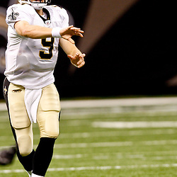 August 21, 2010; New Orleans, LA, USA; New Orleans Saints quarterback Drew Brees (9) throws a pass during the first quarter of a preseason game against the Houston Texans at the Louisiana Superdome. Mandatory Credit: Derick E. Hingle