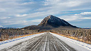Scenic view along the Alaska Highway in the Yukon Territory. Winter. Afternoon.