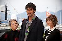 Actress, Kirin Kiki, Actor Hiroshi Abe and Actress Yoko Maki at the After The Storm film photo call at the 69th Cannes Film Festival Wednesday 18th May 2016, Cannes, France. Photography: Doreen Kennedy