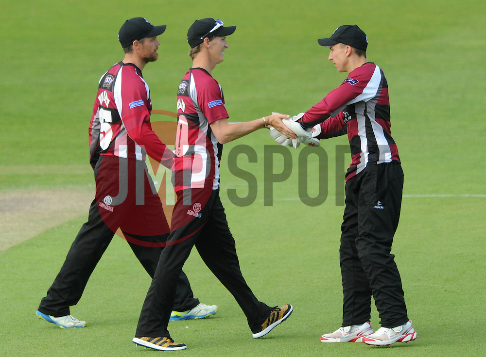 Max Waller of Somerset celebrates with Jim Allenby of Somerset after catching Ian Cockbain of Gloucestershire for 28 from Lewis Gregory of Somerset's bowl - Photo mandatory by-line: Dougie Allward/JMP - Mobile: 07966 386802 - 19/06/2015 - SPORT - Cricket - Bristol - County Ground - Gloucestershire v Somerset - Natwest T20 Blast
