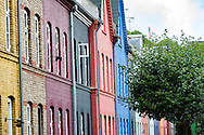 The colourful homes along Olufsvej in the heart of the Østerbro district of Copenhagen